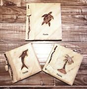 Florida Natural Leaves And Paper Handmade 3 Photo Albums New 10 1/2 X 9 1/2 And 7x7