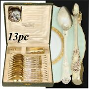 Antique French 18k Gold Vermeil On Sterling Silver 13p Tea Set Teaspoons And Tong