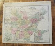 Antique Hand Colored Map Of Us Railroad Lines Common School Geography 1873