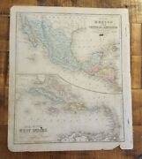 Antique Hand Colored Map - Mexico And Central Amer / Common School Geography 1873