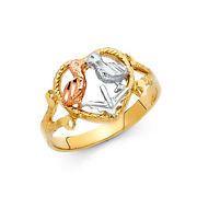 Women 14k Yellow Tri Tone Real Gold Two Love Birds Vintage Fashion Ring Band