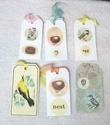 6 Birds And Eggs Nests Yellow Oriolus Bookmarks Gift Tags Silk Ribbon Mixed Lot A7