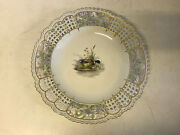 Antique German Meissen Reticulated Porcelain Plate Duck And Ducklings Decoration