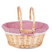 Wickerfield Wicker Hamper Storage Gift Basket With Fordable Handle