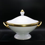 Faberge Chaine D'or Covered Casserole Porcelain W/ 24k Decoration