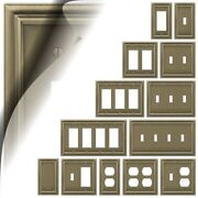 Brushed Brass Switch Plate Continental Wallplate Duplex Outlet Rocker Toggle Gfi