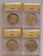 1927-d Peace Silver Dollar Anacs Ms-63 4-coin Set Cert200-204 Deal You Cant Miss