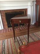 Baker Furniture Drop Leaf Side Table/game Table W/brass Casters Rare