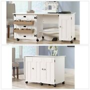 White Sewing Machine Craft Table Drop Leaf Shelves Storage Bins Cabinets
