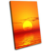 Abstract Orange Sunset Seascape Single Canvas Wall Art Picture Print