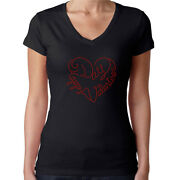 Womens T-shirt Rhinestone Bling Black Fitted Tee Happy Valentines Day Heart Red