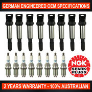 8x Genuine Ngk Platinum Spark Plugs And 8x Ignition Coils For Bmw X5 645ci 735i