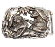 Rare Kieselstein Cord Sterling Silver Monkey Large Belt Buckle 1999