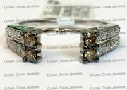 14k White Gold Champagne Diamonds Station Solitaire Wrap Ring Guard Enhancer