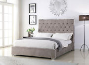 Chrome Frame And Legs Bedroom Light Grey Color Queen Size Upholstered Fabric Bed