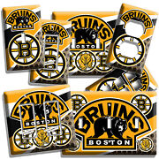 Boston Bruins Hockey Team Logo Light Switch Outlet Wall Plates Cover Room Decor