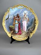 French 17 Hand Painted Limoges Viking Charger, Signed Furlaud
