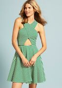 Torn By Ronny Kobo Vered Dress With Thin Stripes Green And White Large L 300 1b