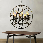 Industrial Orb Globe Vintage Chandelier Candle Cage Pendant Lamp Ceiling Fixture