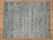 7and0399x10and039 Grey With Wool And Silk Hand Knotted Traditional Village Rug G41241