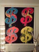 Pop Art Andy Warhol Four Dollar Signs Xxxl 79x63in Hand-painted On Canvas