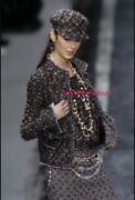 04a Most Wanted Black And Multicolor Pom Pom Tweed Top And Jacket Suit 34