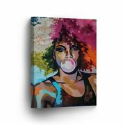 African Woman Bubble Gum Chewing Gum Colorful Art Canvas Print Afro Hair
