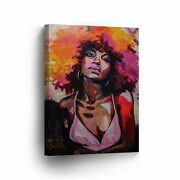 Sexy African Woman Pink Dress Colorful Art Canvas Print Afro Hair Wall Art