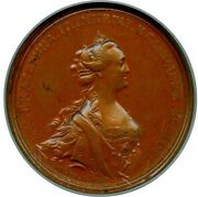 1763 Catherine Ii The Great Bronze Medal Ngc Ms-61 Brown L@@k