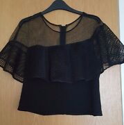 Sachinand Babi Noir Collection Black Mess Top With Frills Size L Uk14