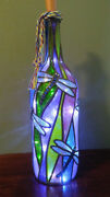 Dragonfly Wine Bottle Lamp Hand Painted Lighted Stained Glass Look
