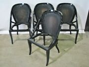 4 Vintage Art Deco Mastercraft Black Lacquered Dining Chairs Restored