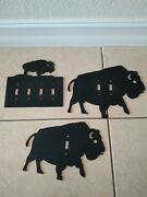 Wrought Iron Buffalo Light Switch Covers 2 Sets And 2 Cabinet Knobs