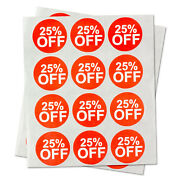 25 Off Retail Garage Sale Stickers Clearance Discount Percent Labels 10 Rolls