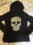 Rare Vs Pink Bling Skull Hoodie Size Small
