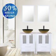 48and039and039 Bathroom Vanity Double Vessel Sink Bowl Glass Cabinet Faucet Drain Combo