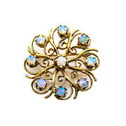 Vintage 14k Yellow Gold Blue Fire Opals Pin Brooch 7.3 Grams 1.2