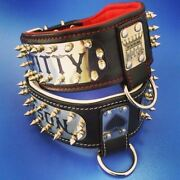 Bestia Personalized Big Dogs Leather Collar. 2.8 Inch Wide. 2 Engraved Plates