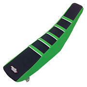 Motoseat Ribbed Accent Traction Seat Cover Green/black/green/white For Kawasaki