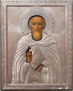 Antique Rare 19c Hand Painted Russian 84 Silver Icon Of Sergiy Of Radonegsk
