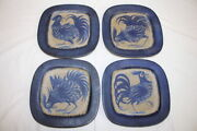 Set Of 4 Thomas Toft 7 1/2 Square Rooster Plates Mid-century Denmark Tt 104