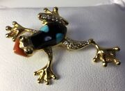 Asch Grossbardt 14k Yellow Gold Frog Multi-color Inlaid Stone Diamond Pin Gh/s1