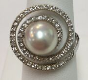 18k White Gold Cultured Pearl 9mm W/ Diamonds .36ct Ring Size 5