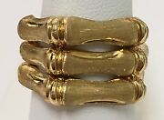 18k Yellow Gold Bamboo Three Band Satin Ring Made In Italy Size 7