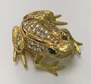 18k Yellow Gold Frog Brooch Diamonds .58ct Gh/vs Emerald Eyes Made In England