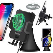 2 In 1 Wireless Charger Phone Holder Mount Automatic Release For Dash / Air Vent