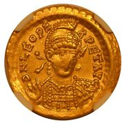 Eastern Roman Empire, Leo I, Gold Solidus, Ngc Ch Xf, Ad 457-474