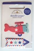 Doodlebug Doodle Pops 3d Stickers - Air Mail, New