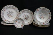 Mixed Lot Of 9 Pc Vintage Spode Shanghai Plates, Bowls And Saucer Bone China Mint