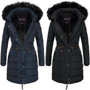 Spindle Womenandrsquos Designer Warm Winter Parka Quilted Hooded Long Coat Hood Jacket